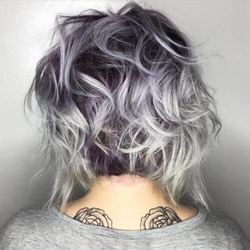 Purple Grey Curls stacked bob haircut