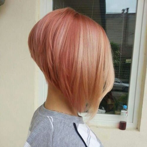 Rose blonde stacked bob haircut