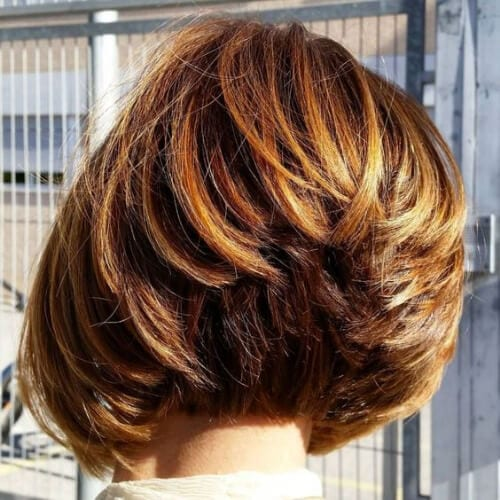 Stacked Copper Balayage Bob Copper stacked bob