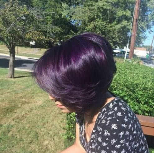 amethyst purple stacked bob haircut