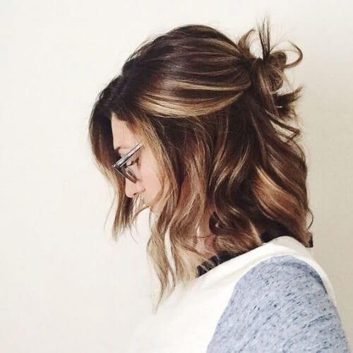 dark hair with caramel highlights