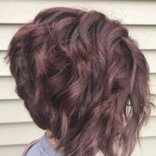 dusty purple stacked bob haircut