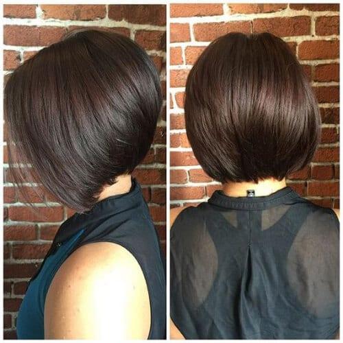 glossy stacked bob haircut