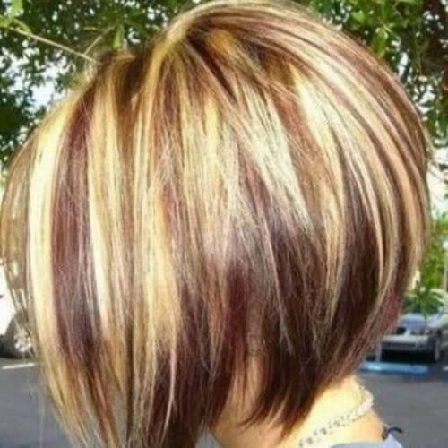 highlights stacked bob haircuts