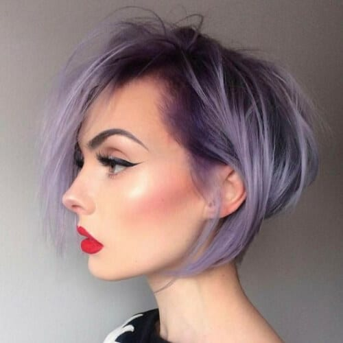 matte iris stacked bob haircut