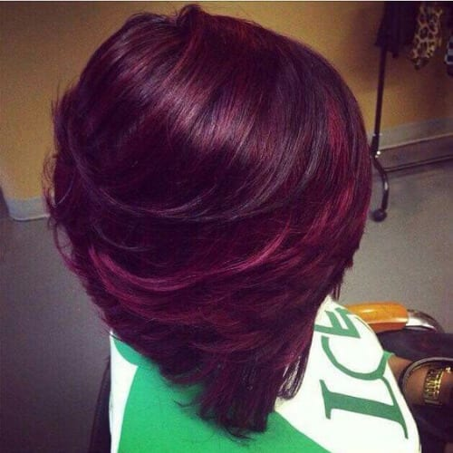 mulberry wine stacked bob haircut