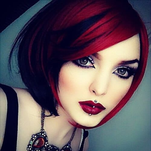ruby red stacked bob haircut