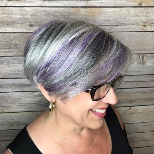 silver Bob with Hint of Purple stacked bob haircut