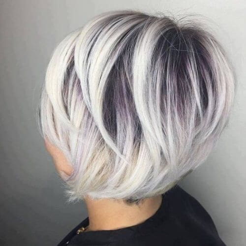 white stacked bob haircut