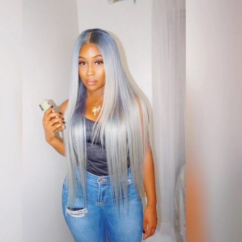 blue silver sew in weave hairstyles