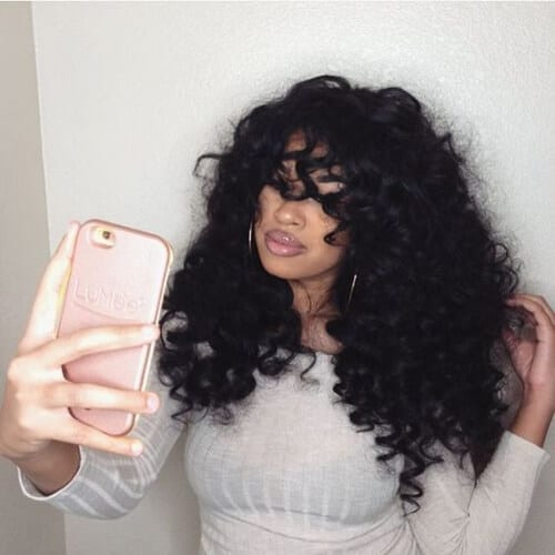 curly bangs sew in weave hairstyles