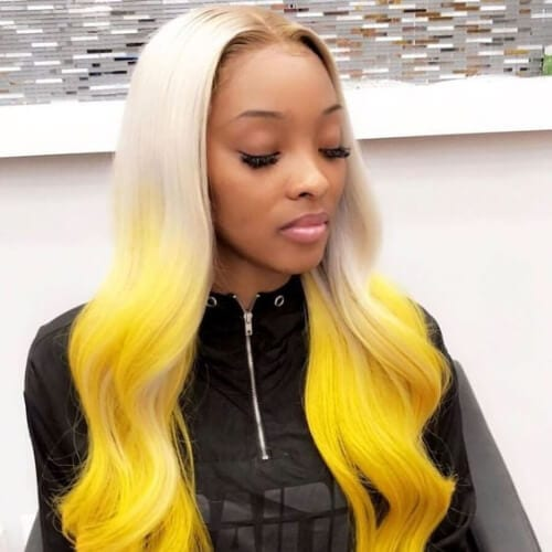 platinum and yellow sew in weave hairstyles