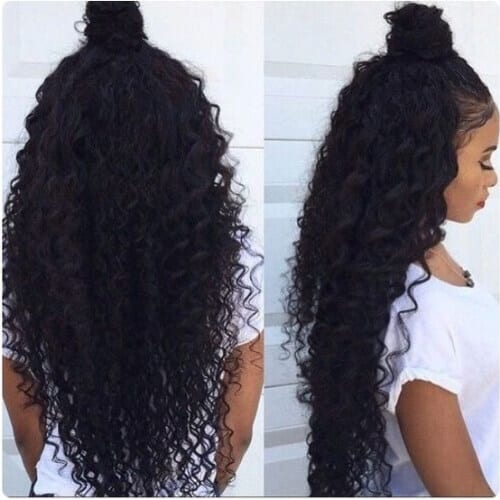 top bun sew in weave hairstyles