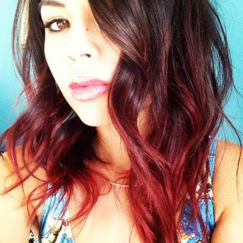 bright red short ombre hair