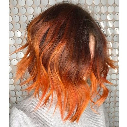 burnt orange short ombre hair
