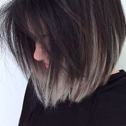 gray short ombre hair