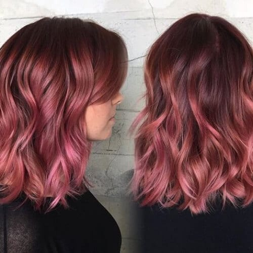 m u t e d raspberry short ombre hair