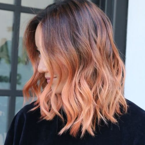 peach short ombre hair