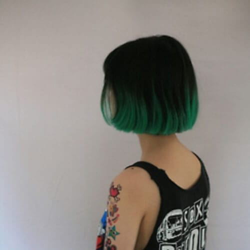 pine green short ombre hair