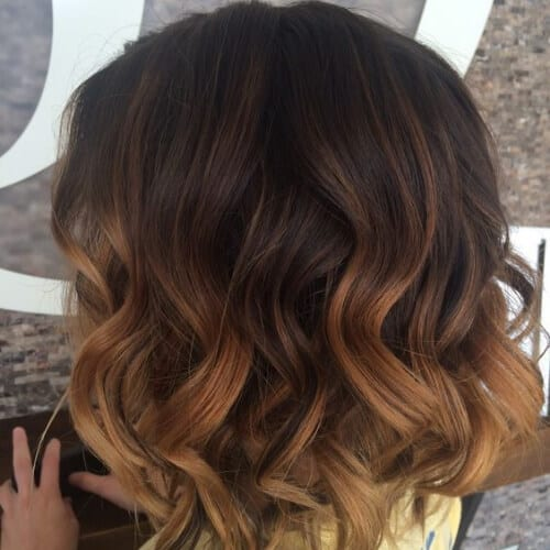 reddish brown short ombre hair