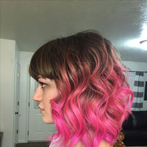 rose gold to hot pink short ombre hair