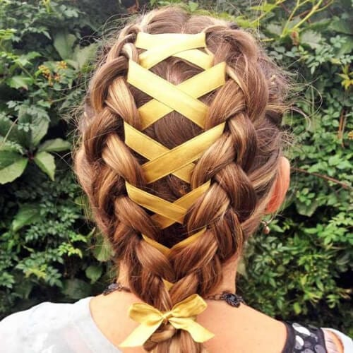 Corset Braid updos for long hair