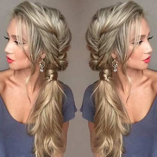 Messy Fishtail Braid into a Side Ponytail updos for long hair
