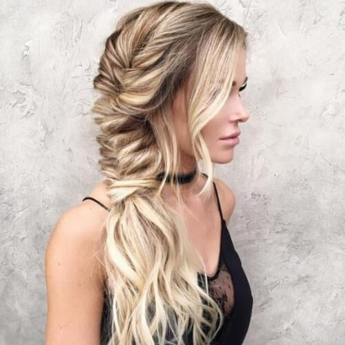 Messy Volumized Fishtail updos for long hair