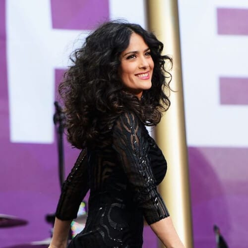 Salma Hayek at Chime For Change The Sound Of Change Live Concert in London curly hairstyles