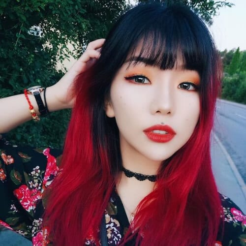 bangs red ombre hair