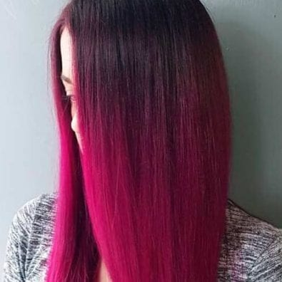 beet red ombre hair