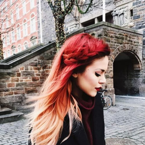 braided red ombre hair