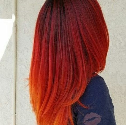 carmine red ombre hair
