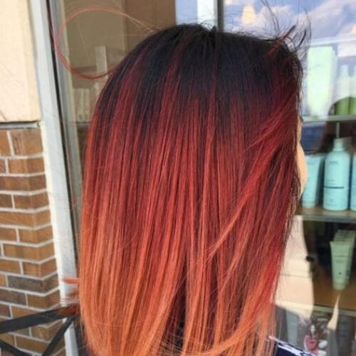 carnelian red ombre hair