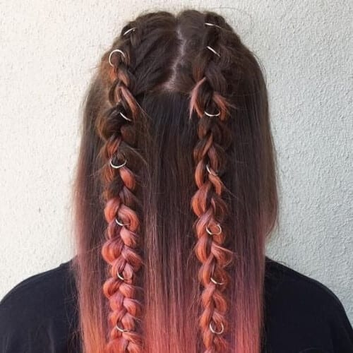 copper ombre braids updos for long hair