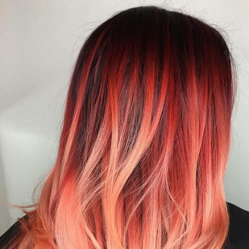 coral red ombre hair