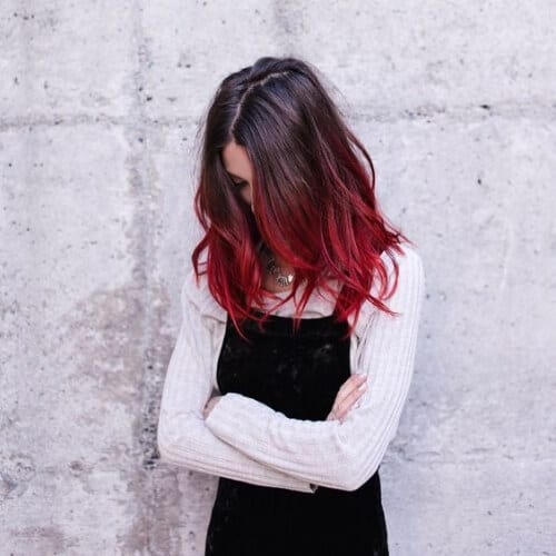 cranberry red ombre hair