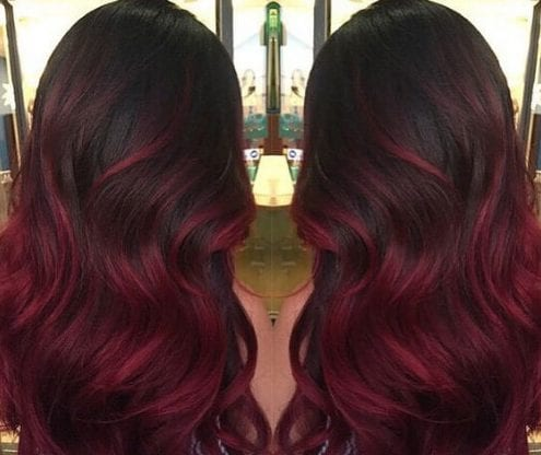 dark cherry red ombre hair