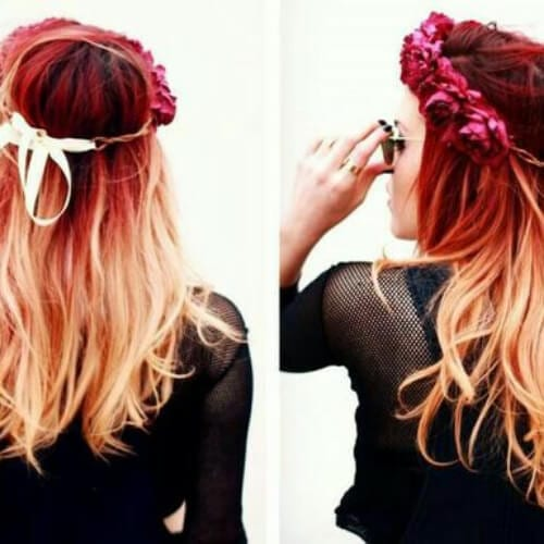 flower crown red ombre hair