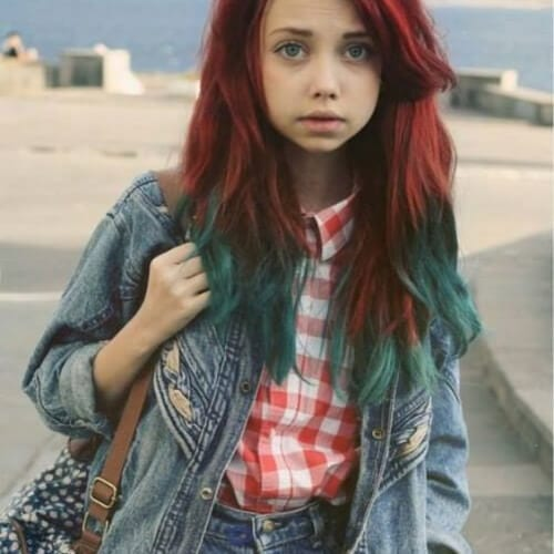 green red ombre hair