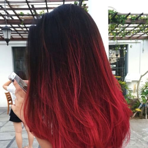 imperial red ombre hair