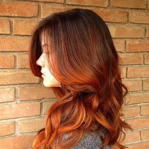 indian summer red ombre hair