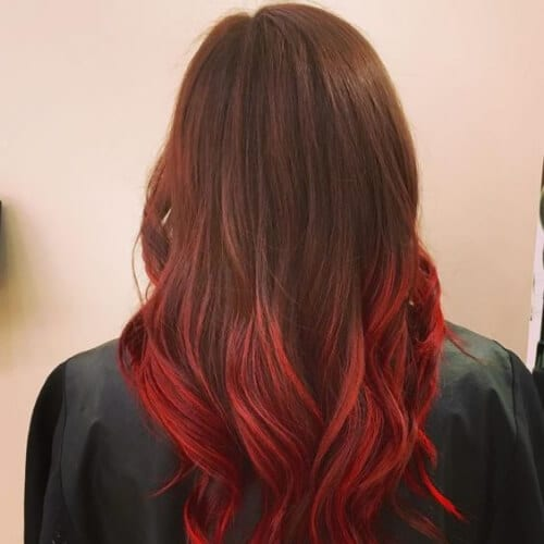 lipstick red ombre hair