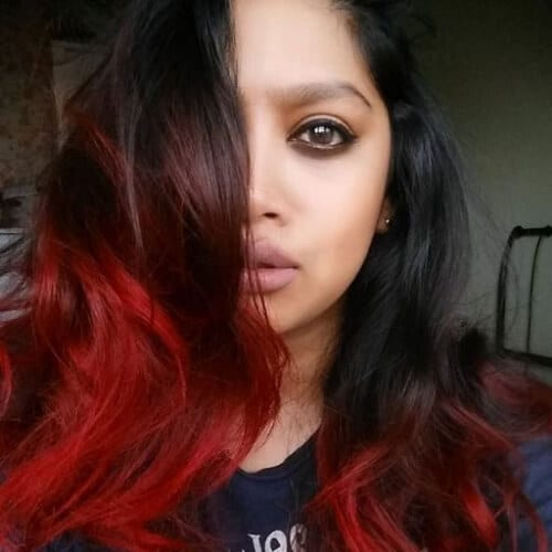 maroon red ombre hair