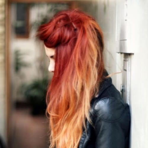 messy red ombre hair