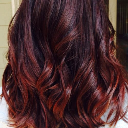 natural autumn red ombre hair