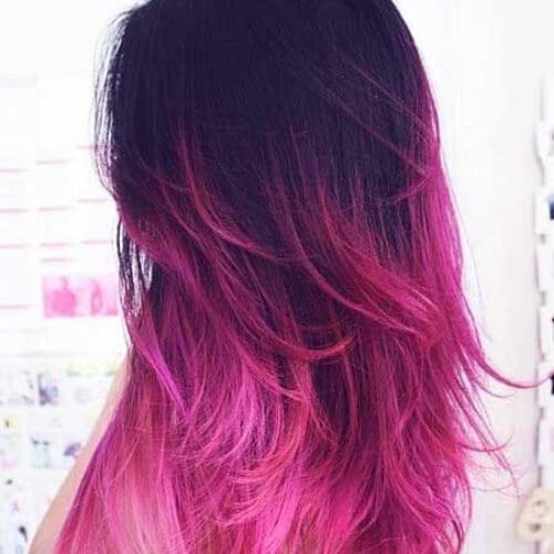 rose red ombre hair