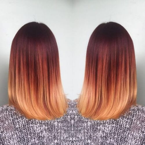 sangria red ombre hair