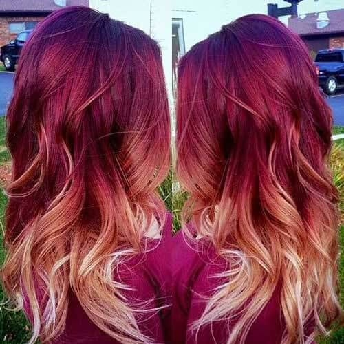 velvet red ombre hair