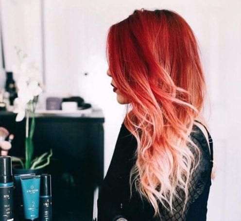 vermilion red ombre hair
